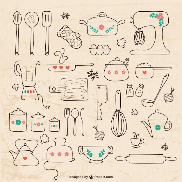 台所用品の図面 無料ベクター