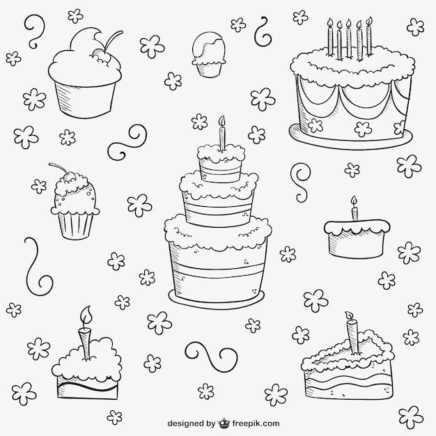 День рождения торты каракули Бесплатные векторы