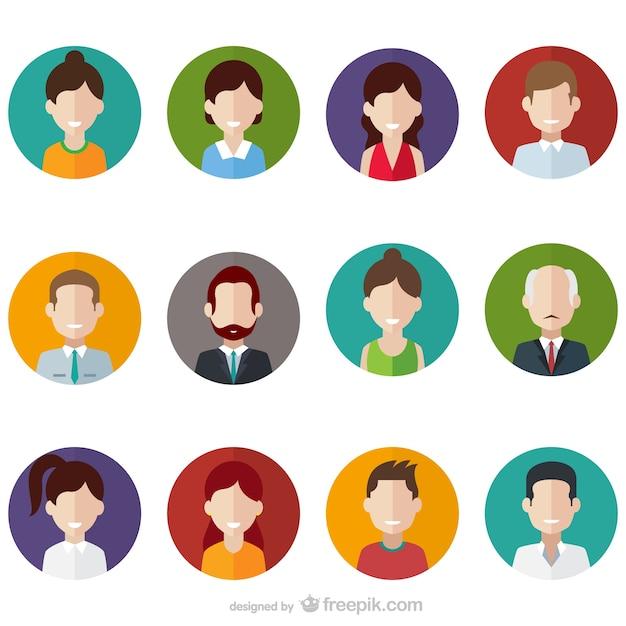 Аватары пользователей пакет Бесплатные векторы
