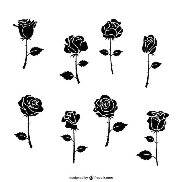 Черные розы пакет Бесплатные векторы
