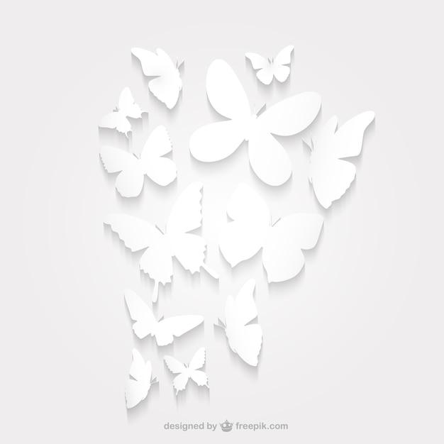 紙の蝶のシルエットパック 無料ベクター