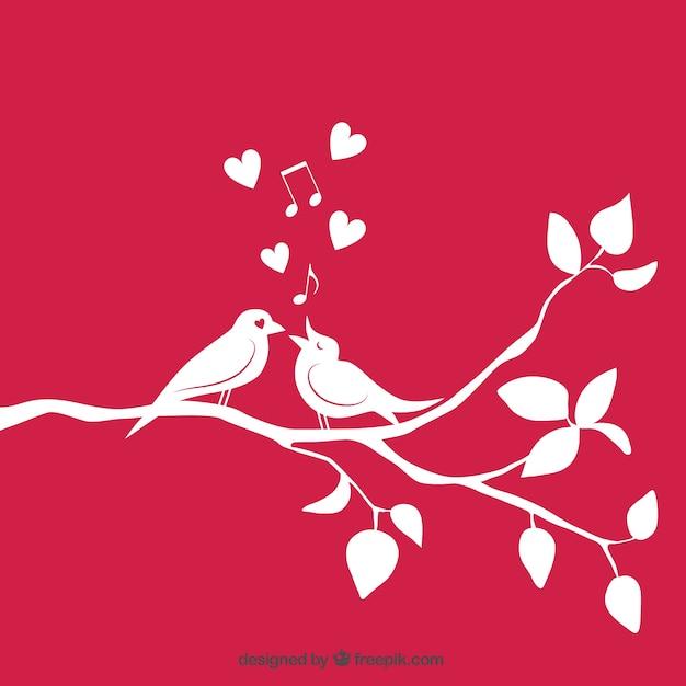 Любить птицы на ветке Бесплатные векторы