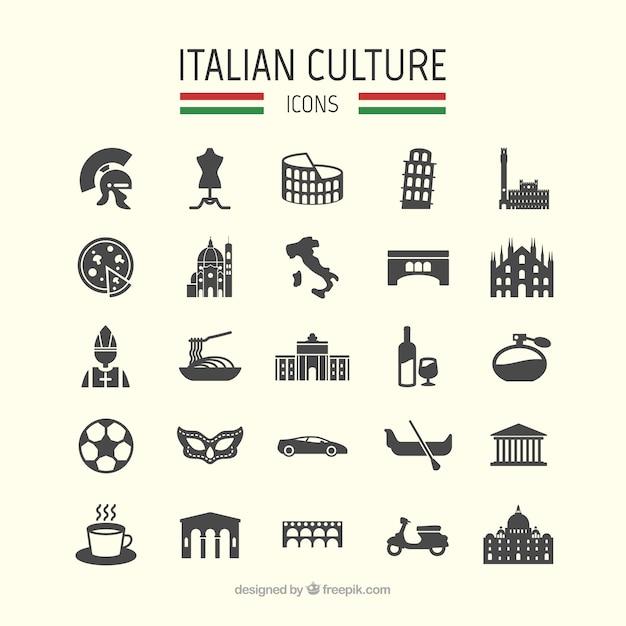 Итальянские иконки культура Бесплатные векторы