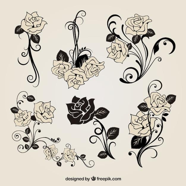 無料のベクトルバラ飾り 無料ベクター