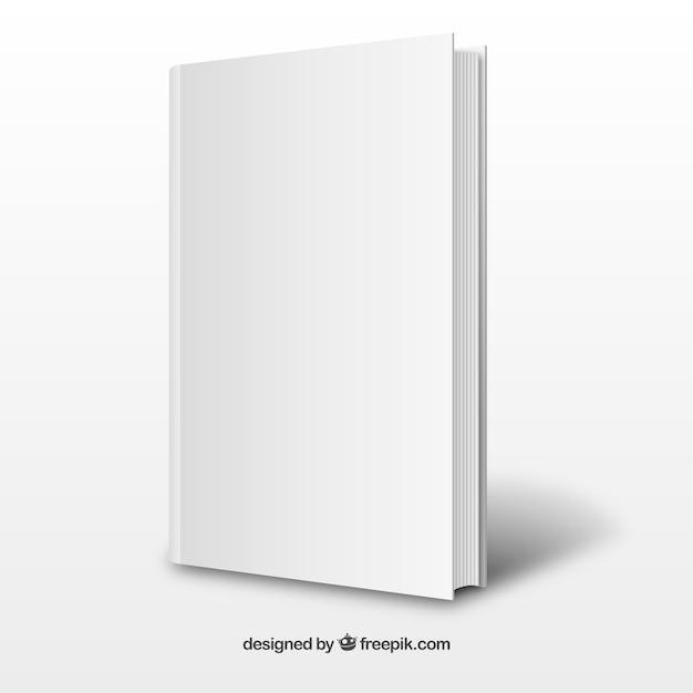 現実的な白のブックテンプレート 無料ベクター