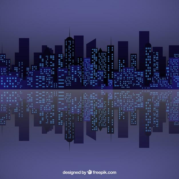 夜の街のスカイライン 無料ベクター