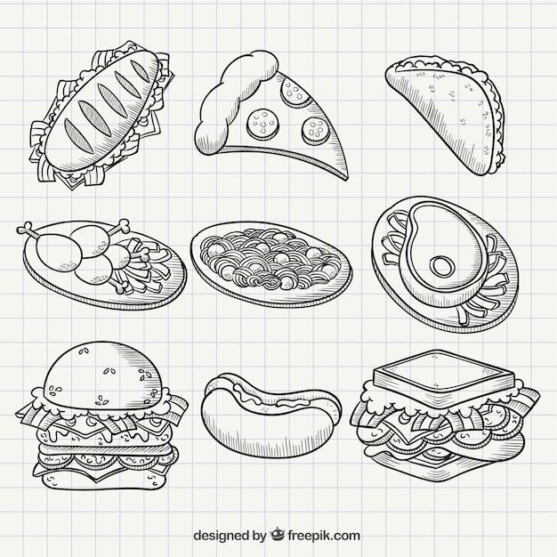 Еда для рисования карандашом