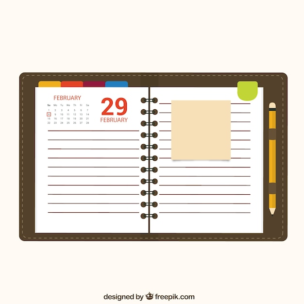 Календарь блокнота Бесплатные векторы