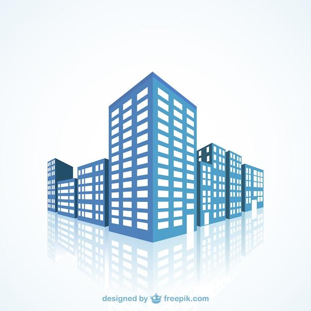 Синие здания Бесплатные векторы