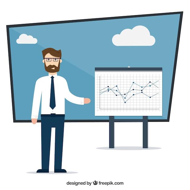 Бизнесмен с диаграммой Бесплатные векторы