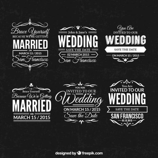 結婚式のスタンプセット 無料ベクター