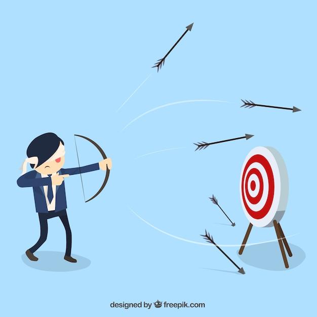 С завязанными глазами бизнесмена стреляли из луков Бесплатные векторы