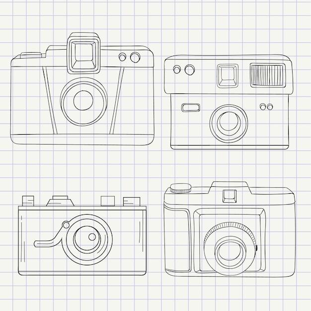 手描きスタイルでカメラコレクション 無料ベクター