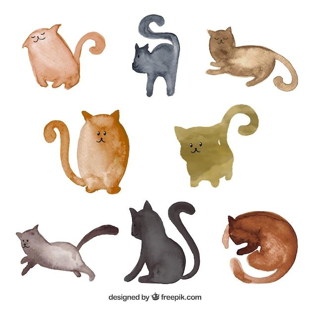 水彩画のスタイルで猫コレクション 無料ベクター