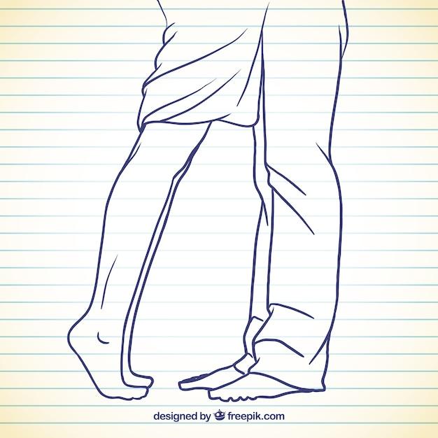 大ざっぱなスタイルで女と男の足 無料ベクター