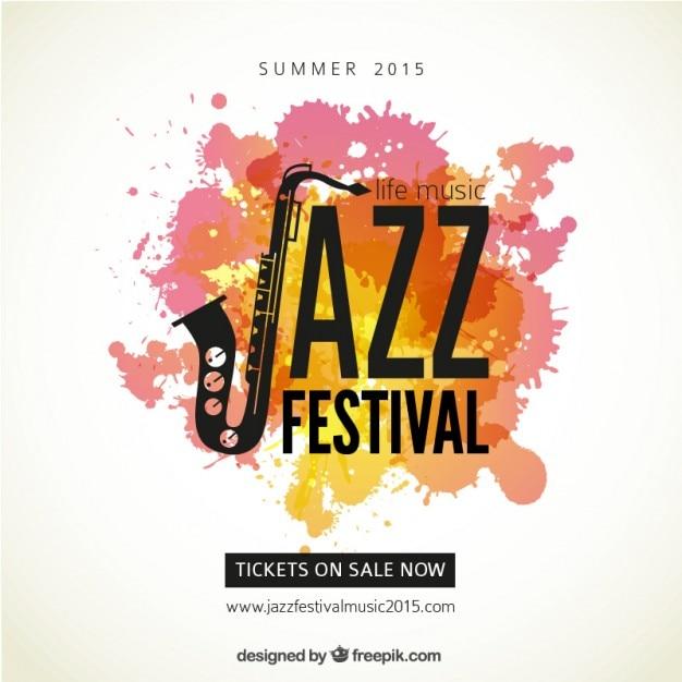 ジャズフェスティバルのポスター 無料ベクター