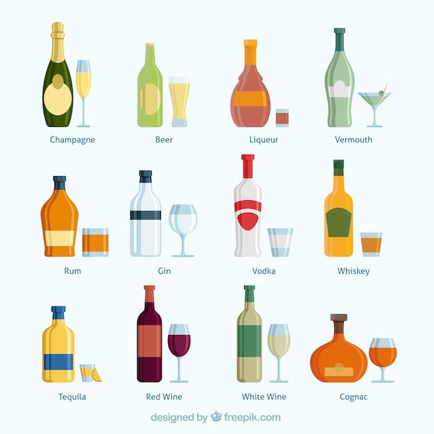 Коллекция напитки Бесплатные векторы