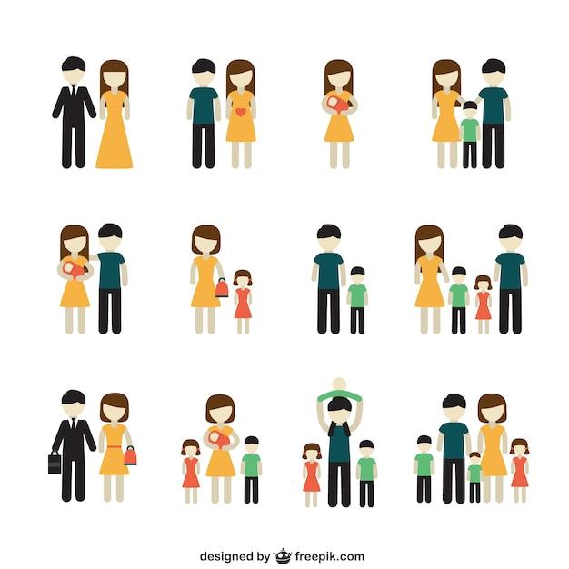 Разнообразие семейных икон Бесплатные векторы