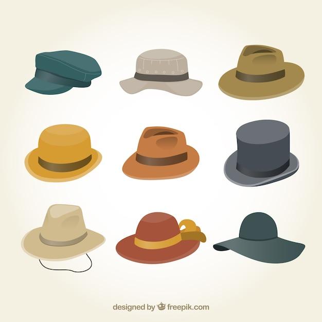 男性の帽子コレクション 無料ベクター