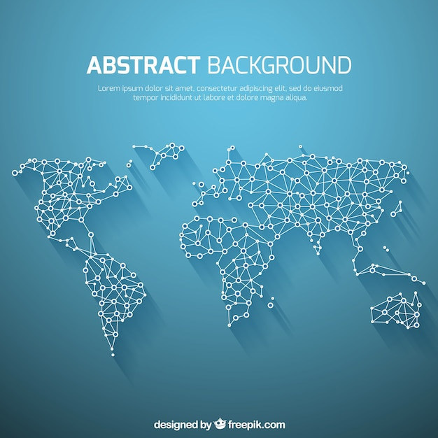 抽象的なスタイルで世界地図の背景 無料ベクター