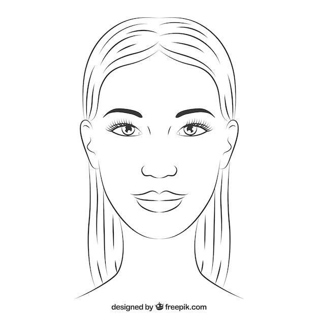 手描きの女性の顔 無料ベクター