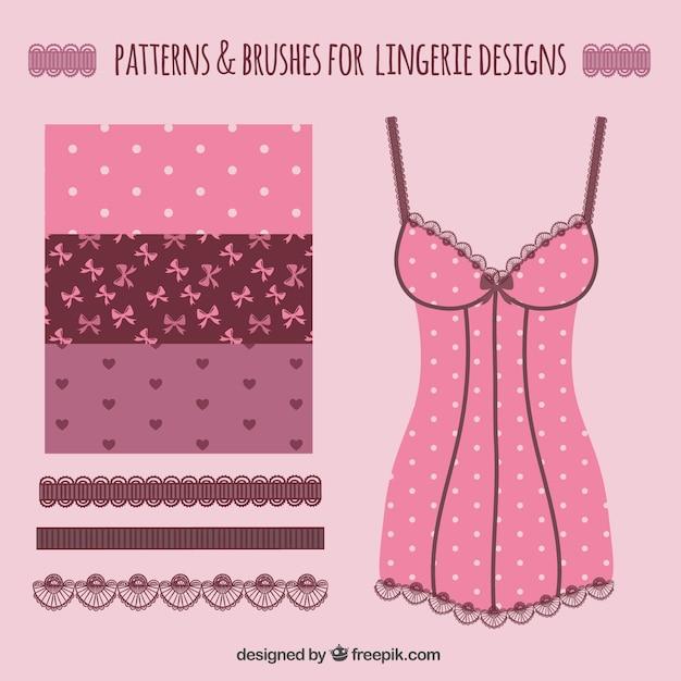 ランジェリーのデザインのためのパターンとブラシ 無料ベクター