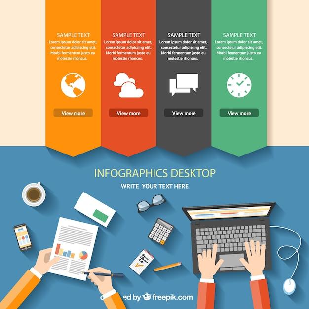 Инфографики рабочего стола Бесплатные векторы