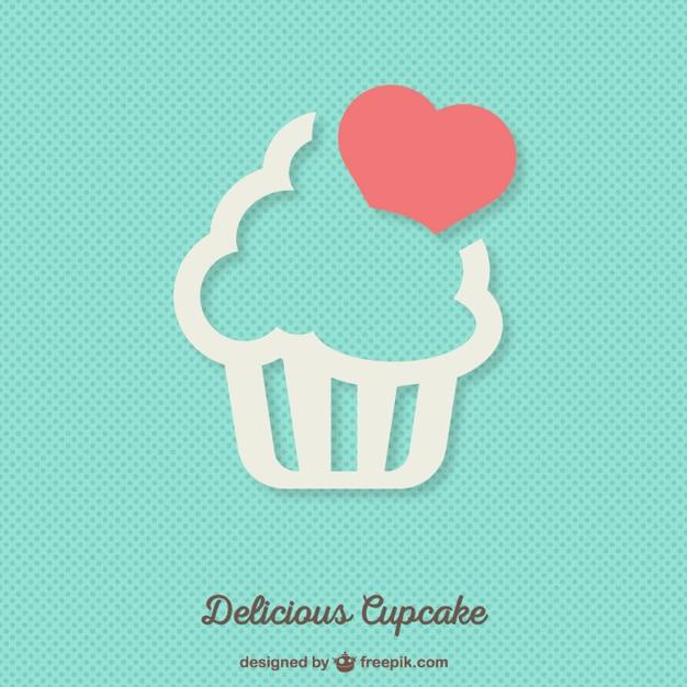 おいしいカップケーキの背景 無料ベクター