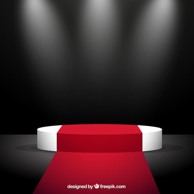 Красная ковровая дорожка и сцена Бесплатные векторы