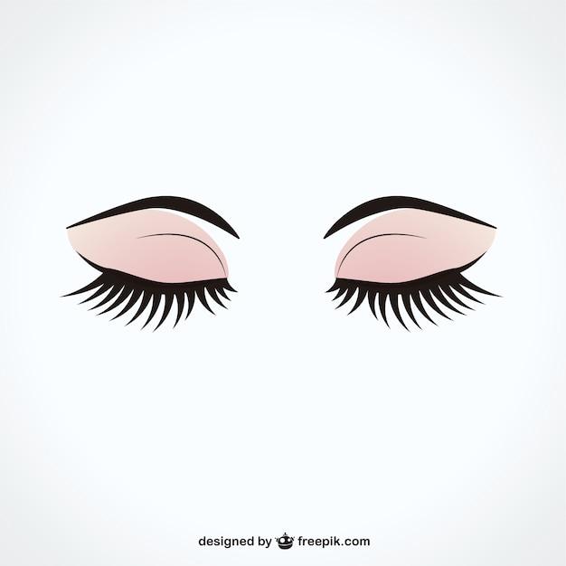 Закрытые глаза с длинными ресницами Бесплатные векторы