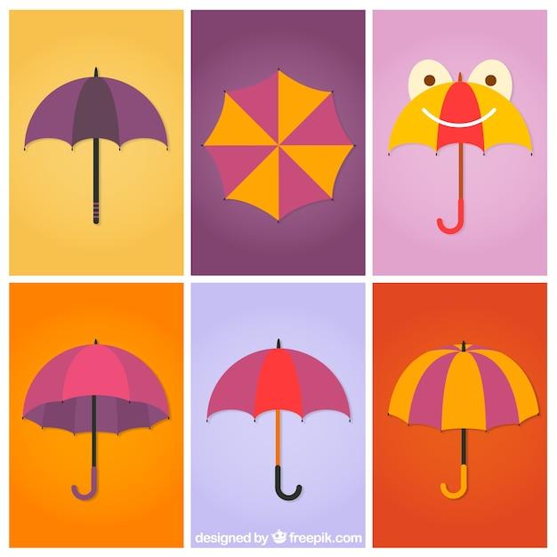 Коллекция зонты Бесплатные векторы
