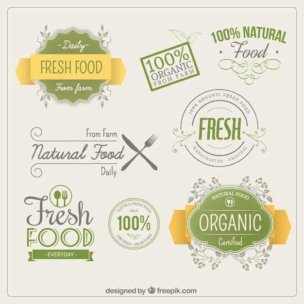 オーガニック食品のラベル 無料ベクター