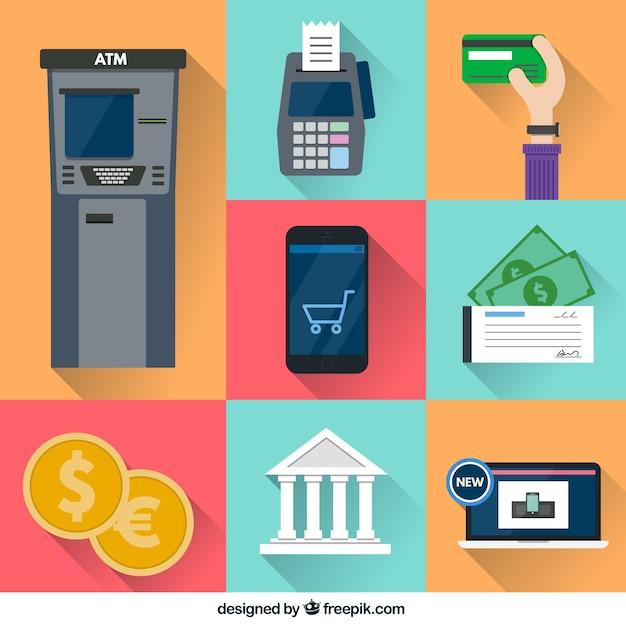 カラフルな金融のアイコン 無料ベクター