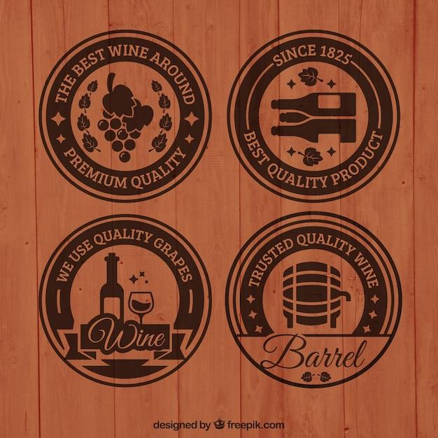木製ワインバッジ 無料ベクター