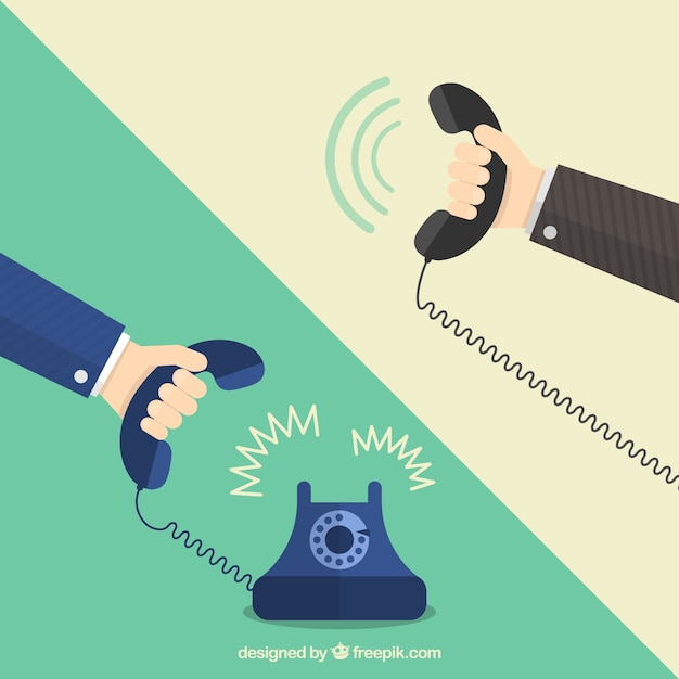 電話を保持している手 Premiumベクター