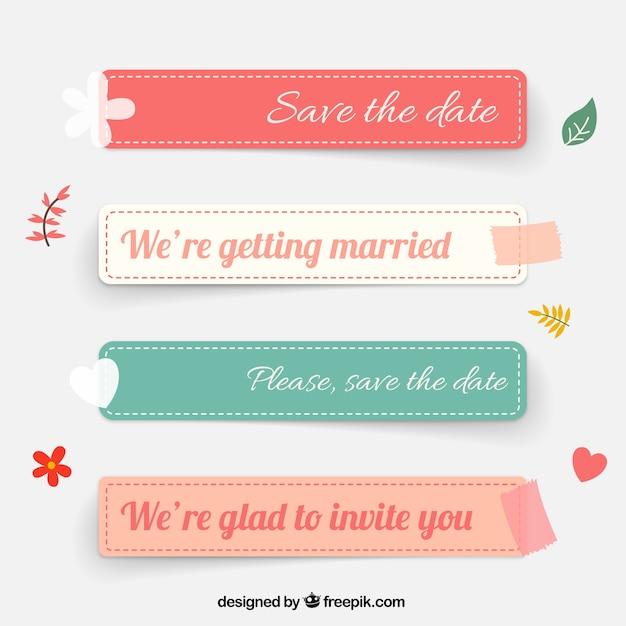 結婚式のラベル 無料ベクター
