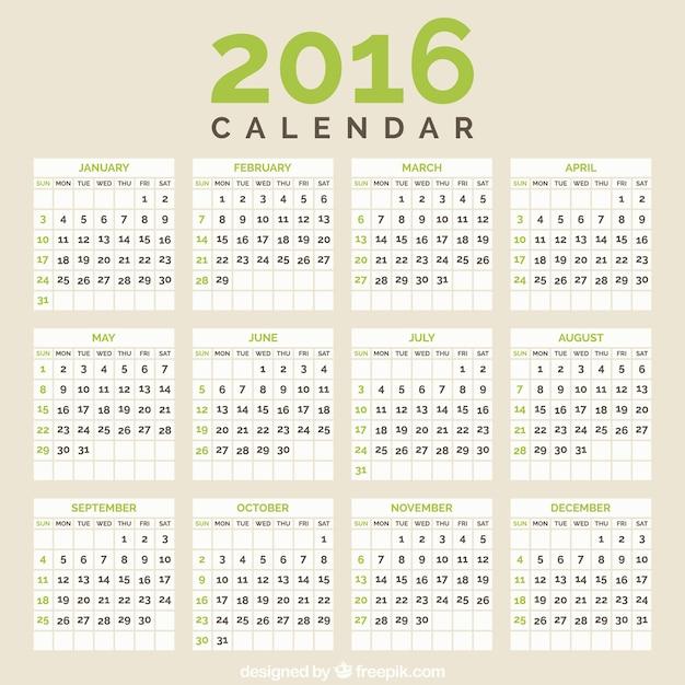 2016年カレンダー ベクター画像 | プレミアム ...