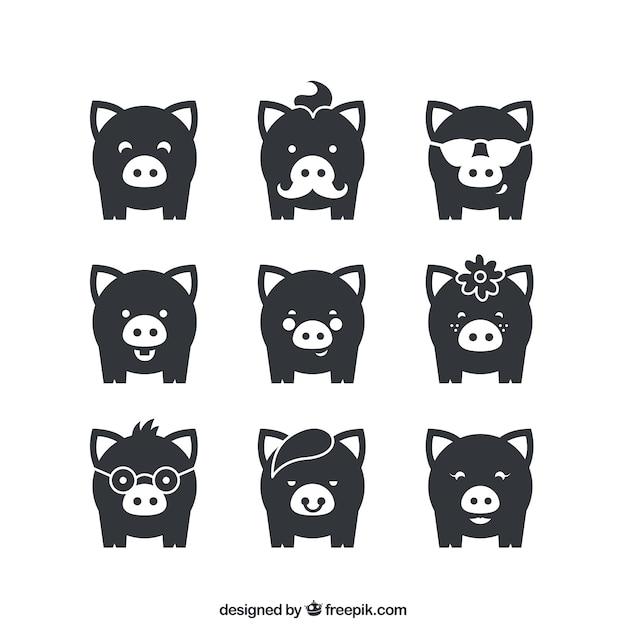Разнообразие свиней иконок Бесплатные векторы