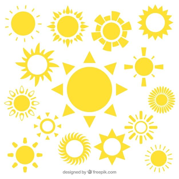 黄色い太陽のアイコン 無料ベクター