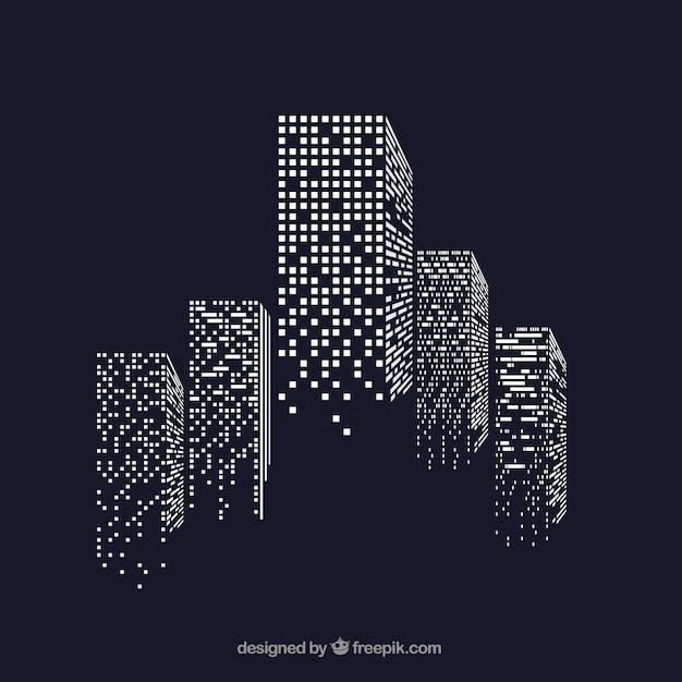 照明された窓付きの超高層ビル 無料ベクター