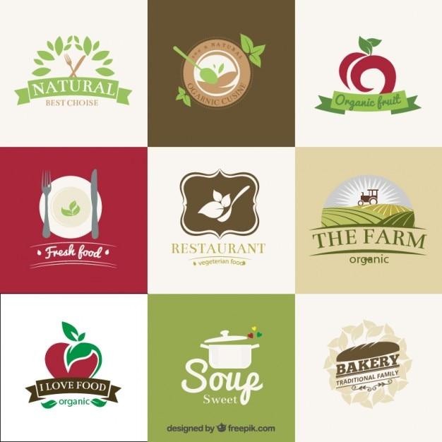 Органические рестораны значки Бесплатные векторы