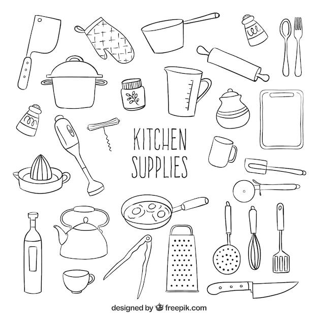 Эскизные материалы кухонные Бесплатные векторы