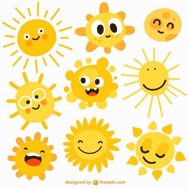 漫画の太陽 無料ベクター