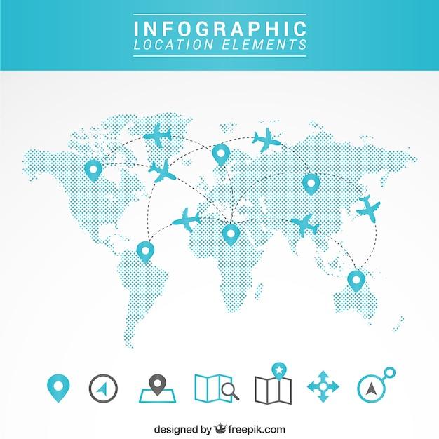 Карта путешествия инфографики Бесплатные векторы