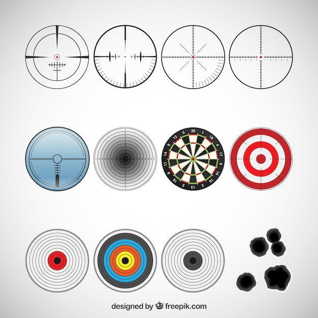 Разнообразие целевых иконок Бесплатные векторы