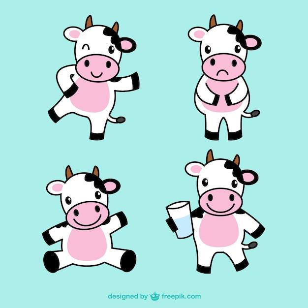 Симпатичные иллюстрации корова Бесплатные векторы