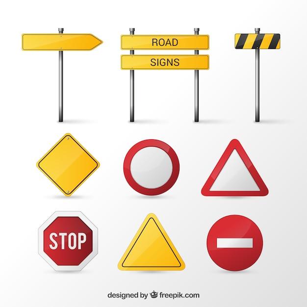 Дорожные знаки Бесплатные векторы