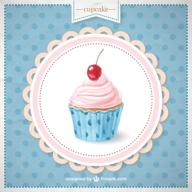 手描きのカップケーキ 無料ベクター