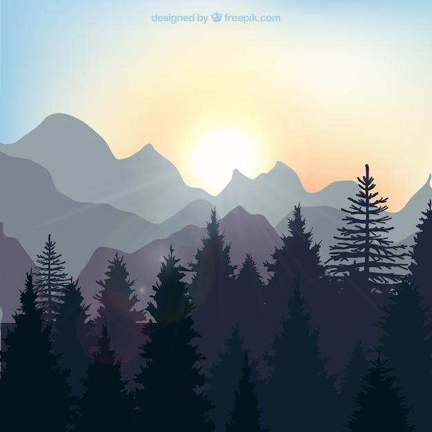 森の日の出の風景 無料ベクター