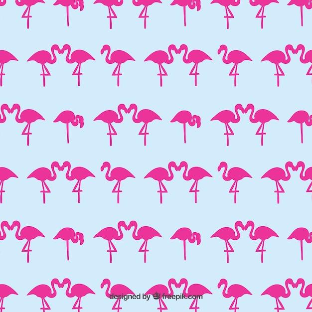 ピンクフラミンゴパターン 無料ベクター